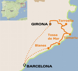 Map of the Barcelona to Girona Bike Tour